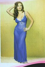 Women Sexy Long Lace See Through Nightie Dress Panties Set Blue Lingerie NEW