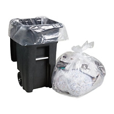 """95-96 Gallon Clear Trash Bags, Large Clear Plastic Garbage Bags, 25/Count, 61""""W"""