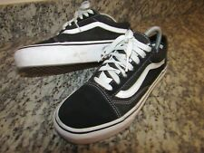 Vans Old School Negro Lona Zapatillas Size UK 5