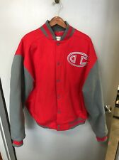 Champion Red Varsity Jacket Snap Front Big C Used Grey Sleeves