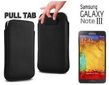 2x Pellicole + Custodia Pull Tab SACCHETTO per Samsung Galaxy Note 3 N9000 Nera