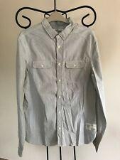 All Saints white grey tiny check wired collar & trim MATSURI men shirt M