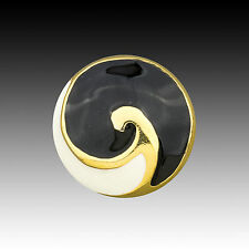 High Quality Vintage Metal Button Gold Color White & Black Enamel Swirl 40002020