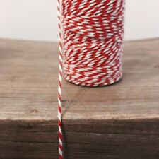 2 Metres Red/White 1.5mm Striped Bunting 100% Christmas Cotton String Twine