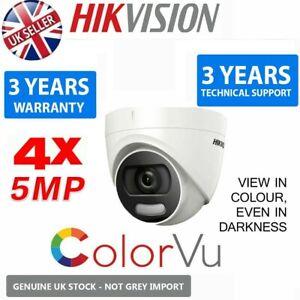 4 x HIKVISION 5MP ColourVu Cam 2K WDR IP67 20M IR 4in1 TVI AHD CCTV Coax 2.8M UK