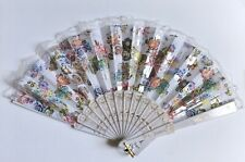 White Folding Hand Held Fan New Flowers Lace Silver Colorful Tag Tassel Elegant