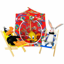 Red, Bugs Bunny print Toy Play Folding Camping Tent, 2 Sleeping Bags, handmade