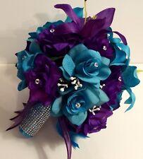 Bridal Bouquet Package Purple Turquoise Round 21 Piece