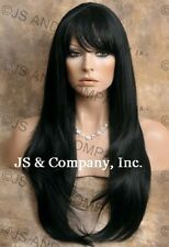 HUMAN HAIR Blend wig Long Straight Black Layered Sides heat safe WBTO 1