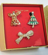 Macy's Holiday Lane Set of 3 Holiday Pins / Brooches Gift Boxed Holiday Gift Set