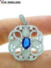 STERLING 925 SILVER WHITE GOLD PLATED SAPPHIRE PENDANT TURKISH JEWELRY P3134