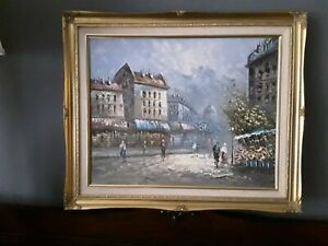 Framed Original Oil on Canvas Painting Vintage French Street Scene Signed