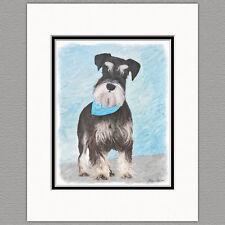 Schnauzer Miniature Standard Dog Original Art Print 8x10 Matted to 11x14