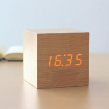 Sound Control USB Solid Wood Wooden LED Desk Bedside Yellow Digital Alarm Clock