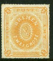 Germany 1863 Bremen 2gr Orange Perces en Scie 16 Mint J891 ⭐⭐⭐⭐⭐
