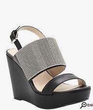 Torrid Size 12 Wide Width Black Chain Open Toe Sandal Platform Wedge NEW