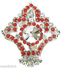 Rojo De Plata Broche Diamante Broche Vintage Shoe Cake Topper Pin Novia Nuevo Reino Unido