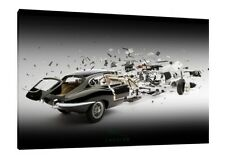 E-Type Jaguar - 30x20 Inch Canvas Wall Art - Exploded Diagram Framed Picture