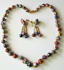 Vintage Murano Venetian MILLEFIORI Glass Bead Necklace & Earring Set