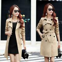Spring Slim Trench Coat for Women Double-breasted Coat Windbreaker Jacket Parkas