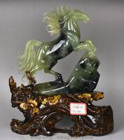 """16 """"Chinois Naturel 100% Xiu Vert Jade Jadéite Chance Animal Cheval Chevaux"""