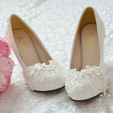 Pearl White Lace Flower Wedding Bridal Shoe High Heels Flat Princess Party
