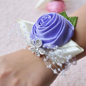 Woman Wrist Corsage Groom Boutonniere Bride Bridesmaid Hand Flower Wedding Decor