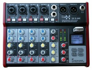 E-Lektron SE-6 Live Audio Mixer 6 Channel Mixer (USB, Bluetooth, Phantom power)