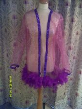Drag Queen/Cabaret SHORT net Pink/sequin coat with dark pink feathers 20/22