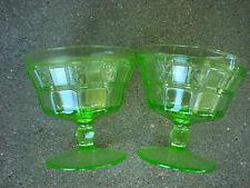 Vintage Green Depression Glass Sherbet Stem Cup Jeannette Doric 1930's