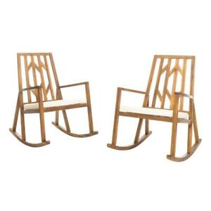 Noble House Outdoor Rocking Chair Farmhouse Solid Wood Cream Cushion (2-Pack)