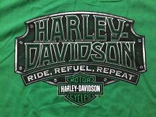 Harley Davidson Ride,Refuel Repeat Green Shirt Nwt Men's XL