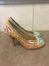 Betsey Johnson Multi-Color Heels Sz 6 M Bow Floral Beads Vero Cuoio Pumps Shoes