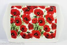 Snack Bandeja Rojo Amapolas Diseño Floral útil Regalo Para Mamá Abuela NUEVO
