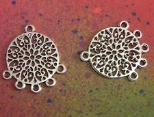 20 Mandala Charms 1 to 5 Earring Connectors Silver Flat Metal Jewelry Components