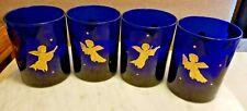 Set of 4 Vintage Culver Cobalt Blue 22K Gold Angels Stars Rocks Cocktail Glasses