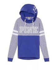 Victorias Secret Pink Colorblock Cross Over Pullover Hoodie PURPLE MARL NWT M