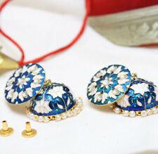 Blue Jhumka Bali Earrings Kundan Gold Plated Fashion Wedding PartyWear Latest Us