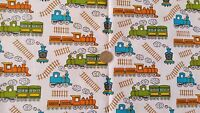 Bright Colour Trains Print Polycotton fabric material - FREE UK P&P