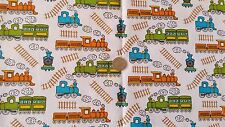 Bright Colour Trains Print Polycotton fabric material - FREE UK P&P