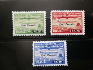 "Brazil Stamps SC# 4CL8-10 1930 ""Graf Zeppelin"" Overprinted Replica Place Holders"