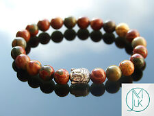 """Buddha Picasso Jasper Natural Gemstone Bracciale con Perline 7-8"""" elasticizzata guarigione"""