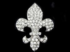 Clear Austrian Rhinestone CRYSTAL Cross FLEUR De Lis Gift Silver PIN BROOCH