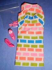 Vintage Barbie PRINT APLENTY SILK DRESS, HOT PINK DANGLE EARRINGS & SHOES MINTY