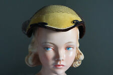 Women's Yellow 1920's Vintage Velvet Fascinator Hat Ivory Pearls Brown Trim Veil