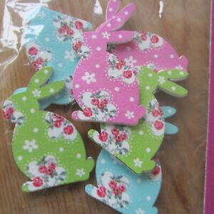 Trimits Easter Bunnies Pack of 6 - Floral Rabbits Wooden, fabric covered Self-ad