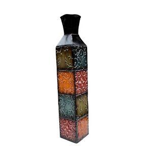 Tall Floor Metal Decorative Vase Embossed Pattern Multicolor Tile 30 in