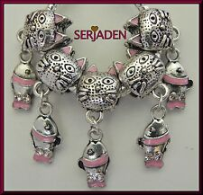 5 Cats with Dangling Fish Charm Beads Cat Lover Fits European Style Jewelry S080