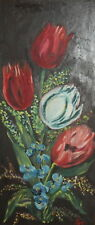Vintage floral oil painting signed