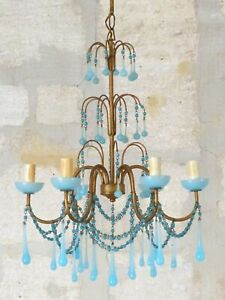 Antique Chandelier Blue Opaline Drops Cup Beads 1930 MURANO 6 Lights RARE Lustre